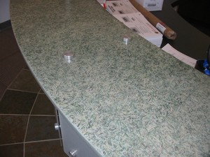 Counterfit Green shredded used as countertops